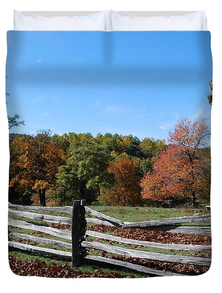 Fall Fence Duvet Cover by Eric Liller