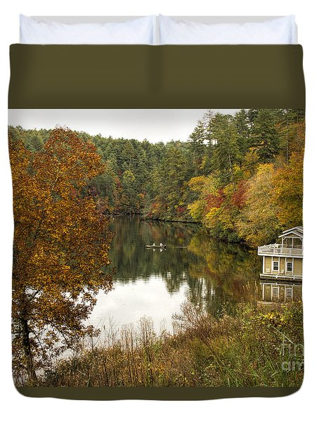 Duvet Cover featuring the photograph Fall Fishing by Barbara Bowen