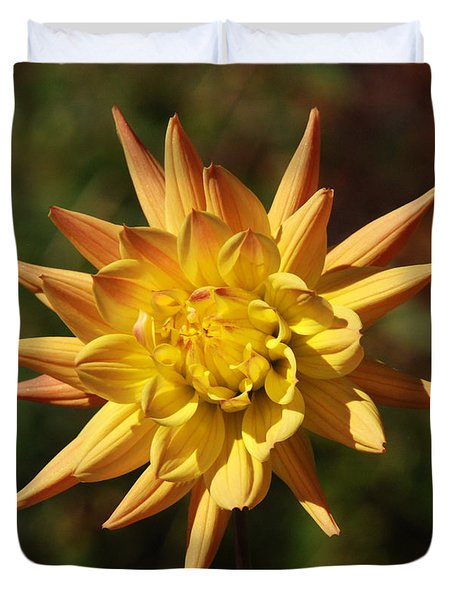 Duvet Cover featuring the photograph Fall Flower by Richard Bryce and Family