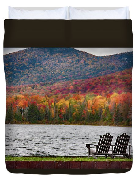 Fall Foliage At Noyes Pond Duvet Cover by Jeff Folger