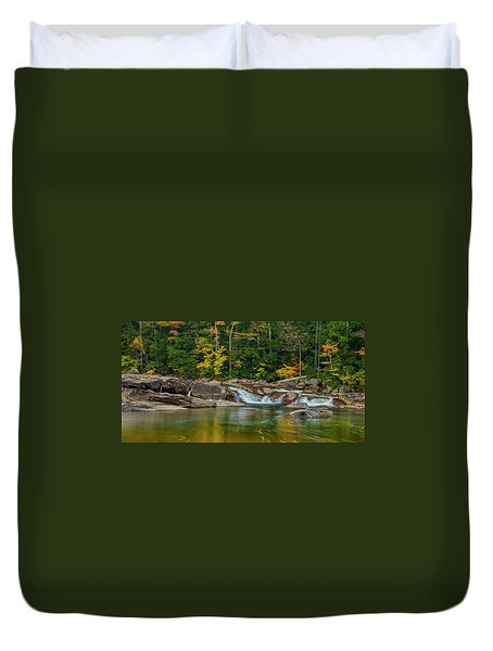 Duvet Cover featuring the photograph Fall Foliage In Autumn Along Swift River In New Hampshire by Ranjay Mitra