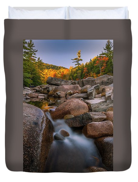 Duvet Cover featuring the photograph Fall Foliage In New Hampshire Swift River by Ranjay Mitra