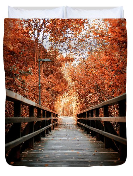Duvet Cover featuring the photograph Fall Foliage In The Heart Of Berlin by Ivy Ho