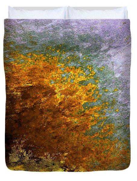 Duvet Cover featuring the digital art Fall Foliage by John Krakora