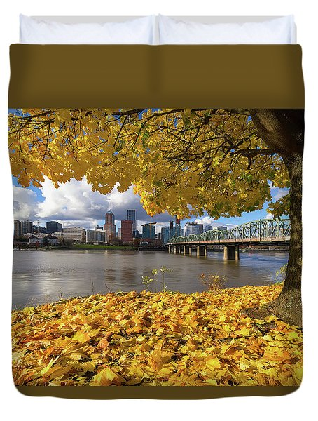 Fall Foliage With Portland Oregon City Duvet Cover