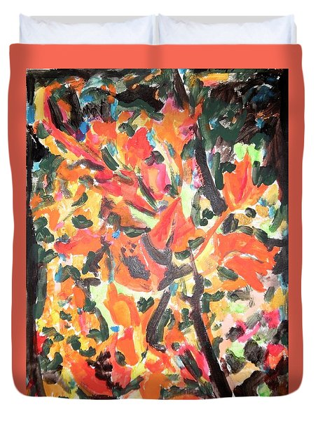 Fall Forest In Red And Black Duvet Cover by Esther Newman-Cohen