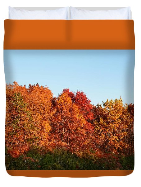 Duvet Cover featuring the photograph Fall Forest by Nikki McInnes