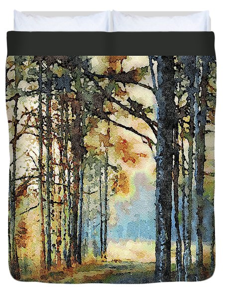 Fall Forest Watercolor Duvet Cover