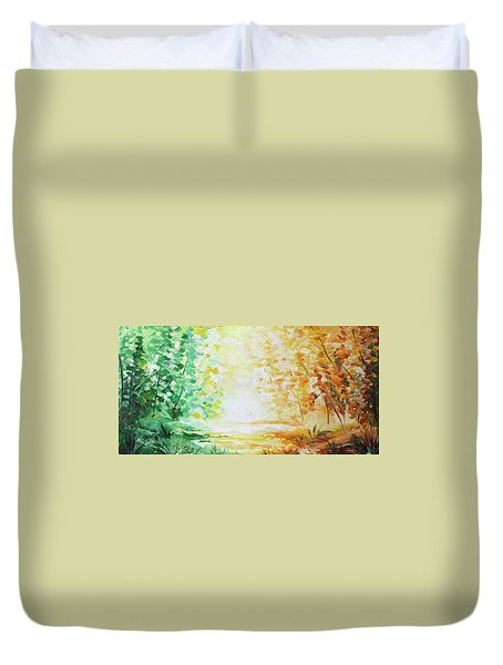 Duvet Cover featuring the painting Fall Glow by William Love