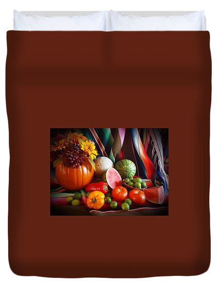 Duvet Cover featuring the painting Fall Harvest Still Life by Marilyn Smith