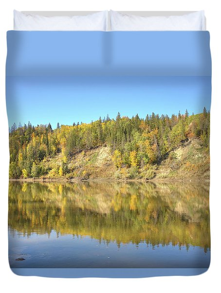 Duvet Cover featuring the photograph Fall Hues On The North Saskatchewan River by Jim Sauchyn