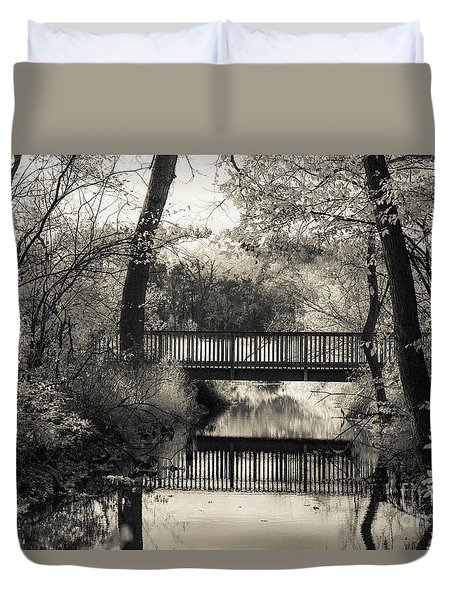 Fall In Black And White Duvet Cover