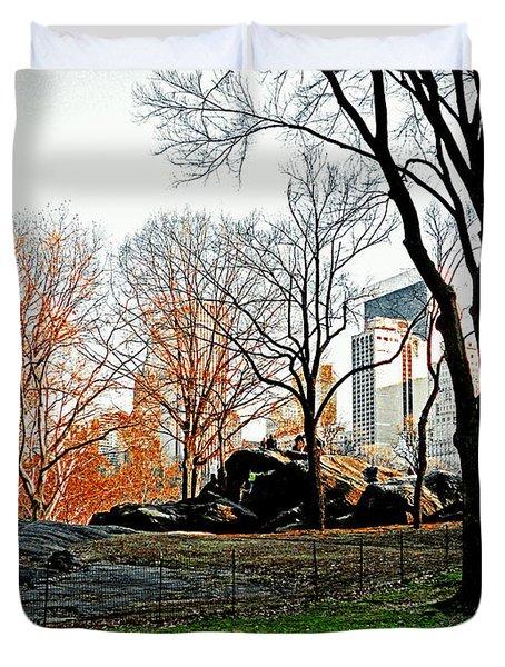 Fall In Central Park Duvet Cover