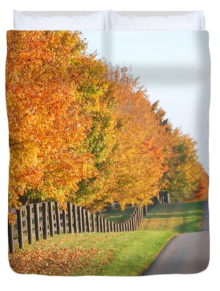 Fall In Horse Farm Country Duvet Cover