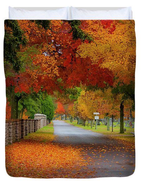Fall In The Cemetery Duvet Cover