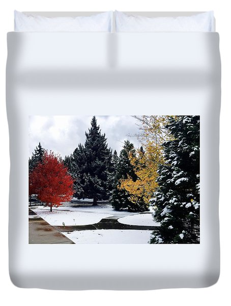 Fall Into Winter Duvet Cover by Russell Keating