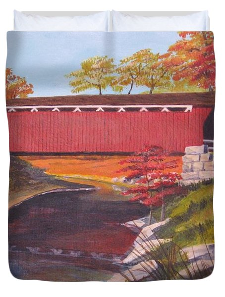 Fall Is In The Air Duvet Cover by CB Woodling