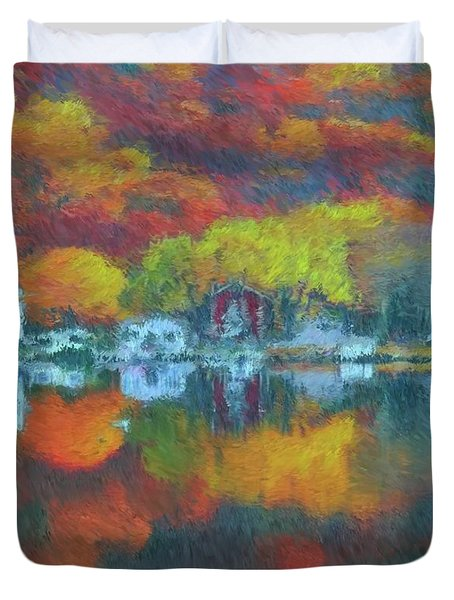 Duvet Cover featuring the painting Fall Lake by Harry Warrick