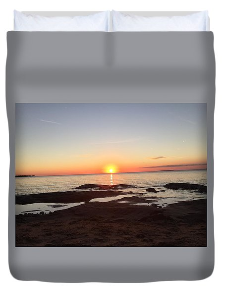 Fall Lake Superior Sunset Duvet Cover