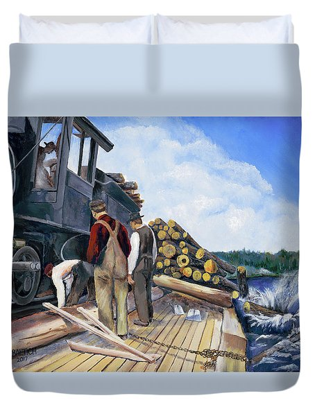 Fall Lake Train Duvet Cover
