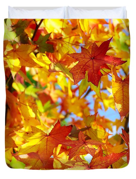 Fall Leaves Background Duvet Cover by Carlos Caetano