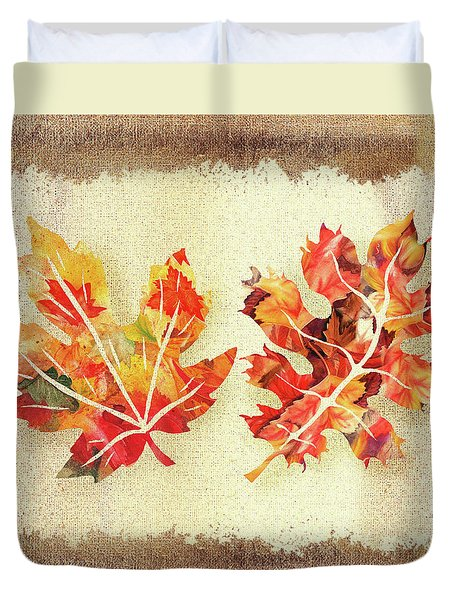 Duvet Cover featuring the painting Fall Leaves Collection by Irina Sztukowski