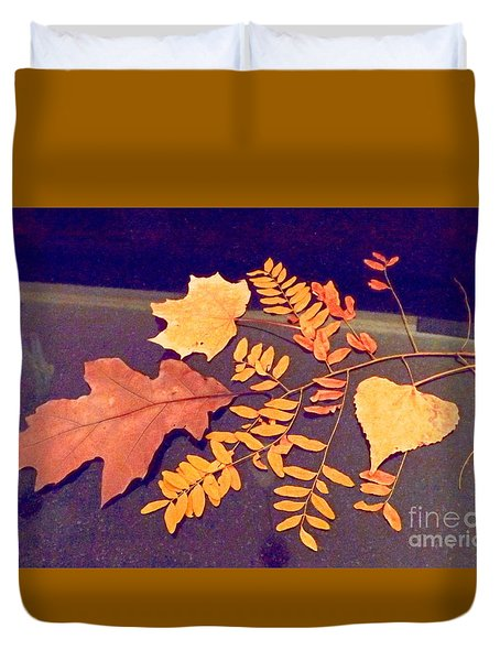 Fall Leaves On Granite Counter Duvet Cover by Annie Gibbons