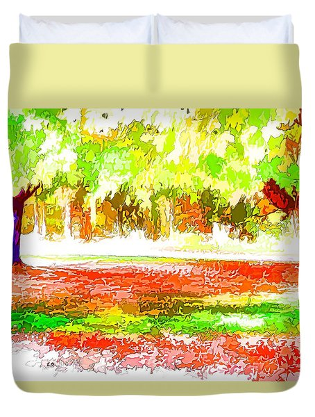 Fall Leaves Trees 2 Duvet Cover by Lanjee Chee