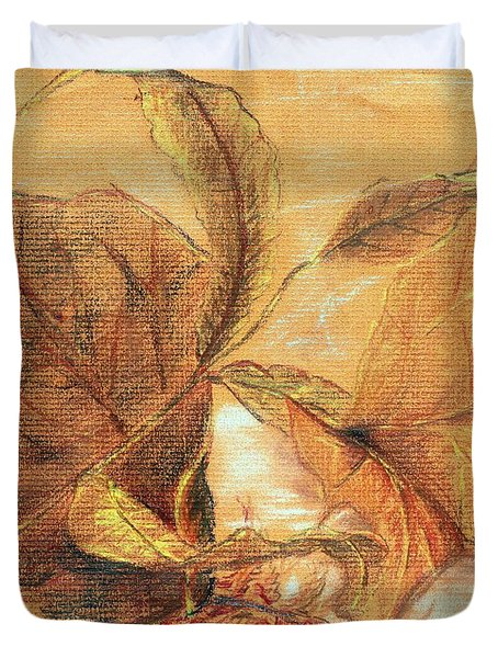Duvet Cover featuring the pastel Fall Leaves by Vonda Lawson-Rosa