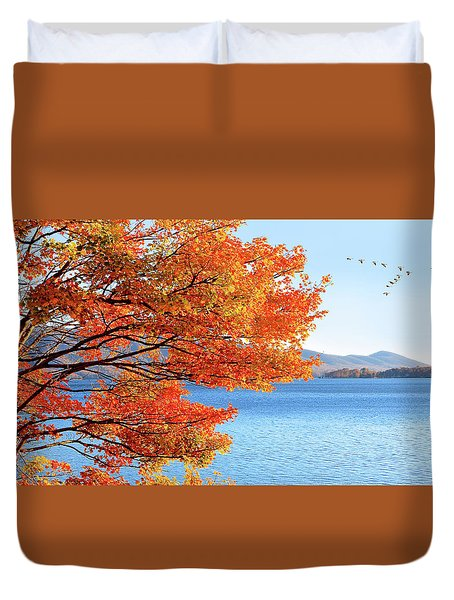 Fall Maple Tree Graces Smith Mountain Lake, Va Duvet Cover