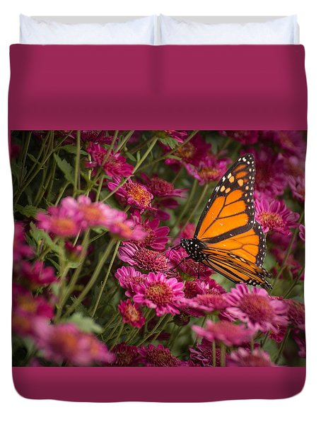 Duvet Cover featuring the photograph Fall Monarch  by Julie Andel