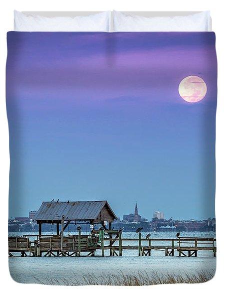 Fall Moon And King Tide - Charleston Sc Duvet Cover