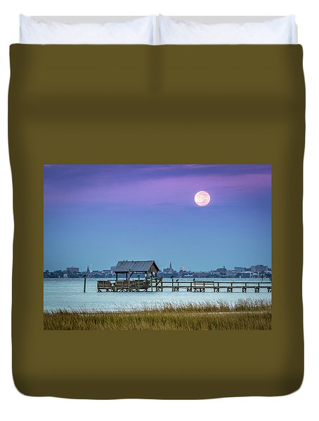 Fall Moon And King Tide - Charleston Sc Duvet Cover