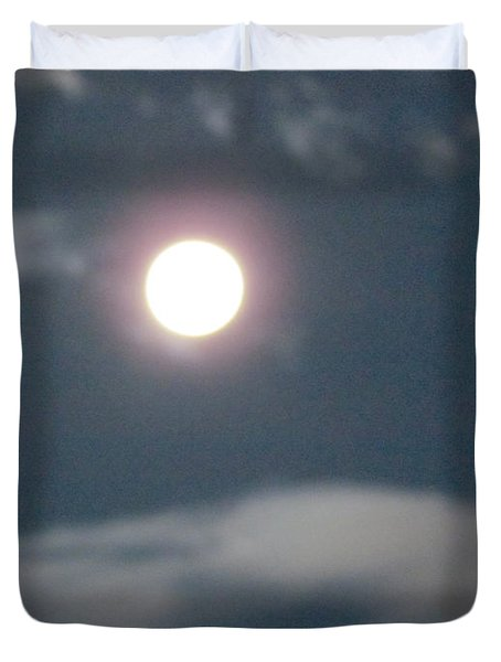 Duvet Cover featuring the photograph Fall Moon by Bonnie Muir