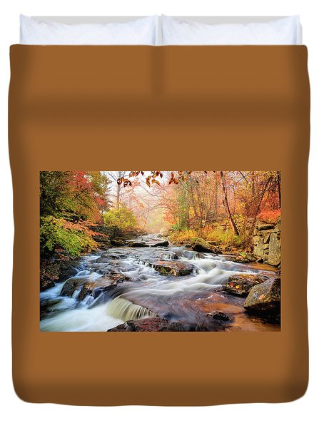Fall Morning At Gunstock Brook Duvet Cover