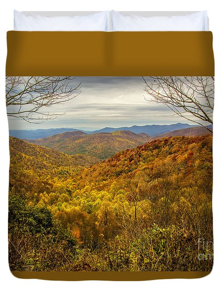 Duvet Cover featuring the photograph Fall Mountain Overlook by Barbara Bowen