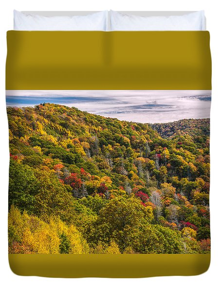 Duvet Cover featuring the photograph Fall Mountain Side by Tyson Smith