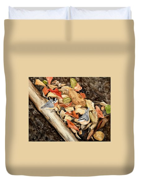 Fall Nuthatch Pair Duvet Cover