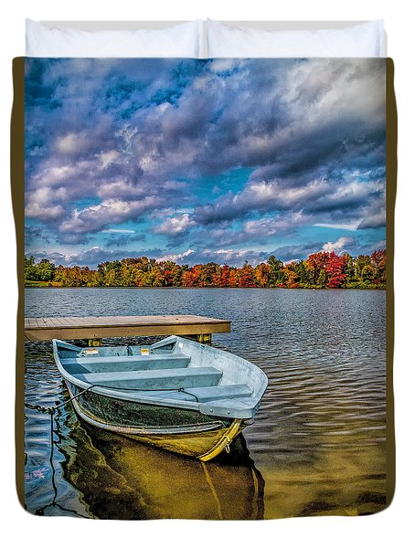 Duvet Cover featuring the photograph Fall On Alloway Lake by Nick Zelinsky