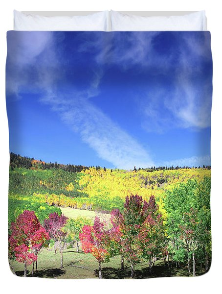 Fall On County Road 12 Duvet Cover