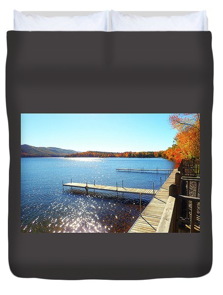 Fall On Lake Dunmore Duvet Cover