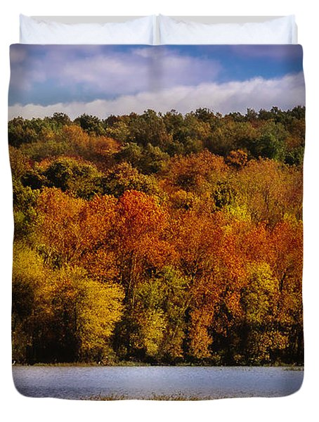 Fall On Springfield Lake Duvet Cover