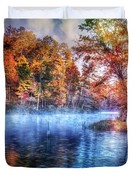 Duvet Cover featuring the photograph Fall On The Lake by Debra and Dave Vanderlaan
