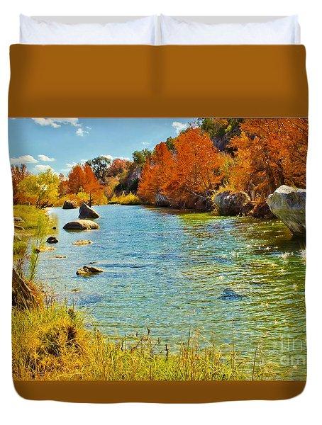 Fall On The Medina River Duvet Cover
