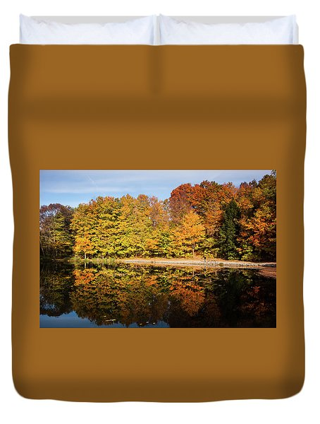 Fall Ontario Forest Reflecting In Pond  Duvet Cover