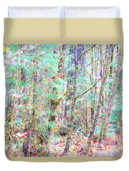 Fall Oregon Forest Duvet Cover