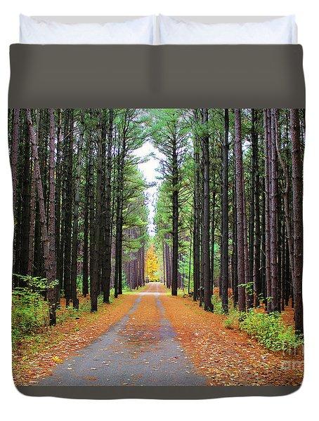 Fall Pines Road Duvet Cover
