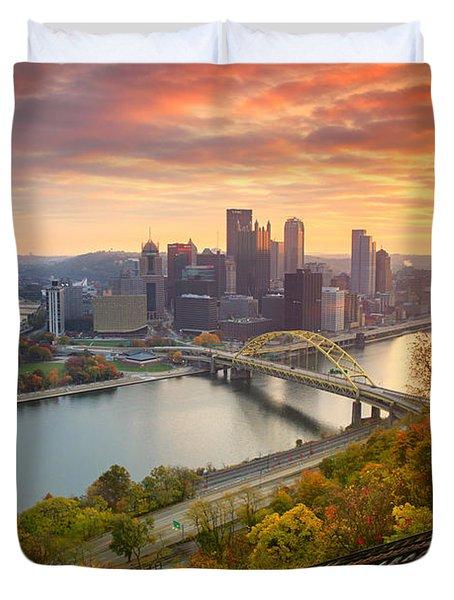 Fall Pittsburgh Skyline  Duvet Cover by Emmanuel Panagiotakis