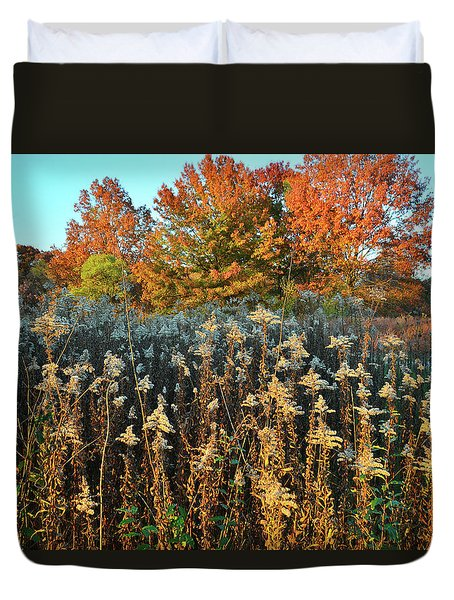 Duvet Cover featuring the photograph Fall Prairie In Moraine Hills by Ray Mathis