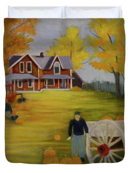 Fall Pumpkin Harvest Duvet Cover